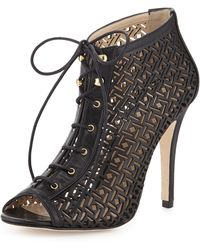 Etienne Aigner Perforated Lace-Up Bootie - Lyst