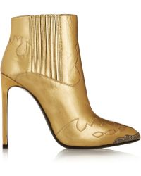 Saint Laurent Paris Metallic Leather Ankle Boots - Lyst