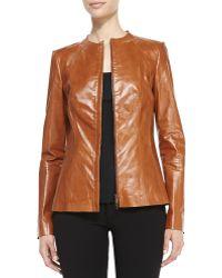 Lafayette 148 New York Yelena Zip-front Leather Jacket - Lyst