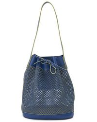 Alexandra De Curtis Blue Perforated Leather Maxi Bucket blue - Lyst