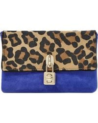 Dune Bluebell Pony and Suede Padlock Clutch Leopard-pony - Lyst