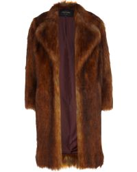 River Island Copper Faux Fur Coat - Lyst
