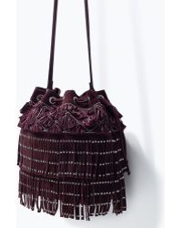 Zara Leather Fringed And Studded Bag - Lyst