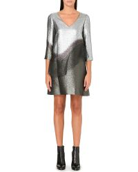 Marc Jacobs Silver Peplum Dress Silver - Lyst