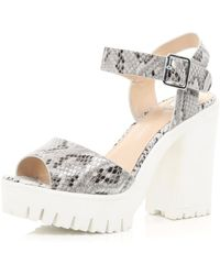 River Island White Snake Print Chunky Cleated Sole Heels white - Lyst