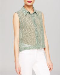 Two By Vince Camuto Diamond Print Top - Green