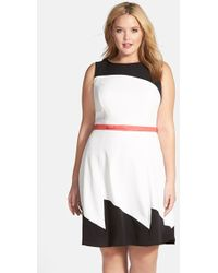 Adrianna Papell Colorblock Fit & Flare Dress - Lyst