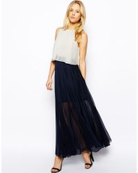 Asos Pleat Layer Maxi Dress - Lyst