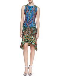 BCBGMAXAZRIA Jenica Sleeveless Handkerchiefhem Dress Multicolor Larkspur Blue Com Medium - Lyst