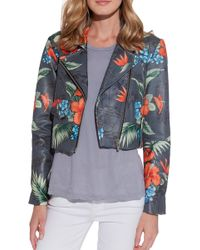 VEDA Warm Printed Leather Jacket blue - Lyst