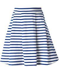 Petit Bateau Striped A-Line Skirt - Blue