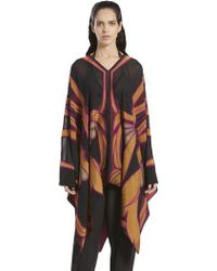 Gucci Stained Glass Print Poncho - Black
