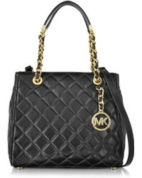 Michael Kors | Susannah Small Black Quilted Leather Tote | Lyst