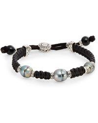 John Hardy Batu 10-115mm Grey Baroque Pearl Onyx  Sterling Silver Cord Bracelet - Lyst