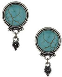Topshop Semi Precious Front And Back Earrings blue - Lyst