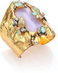 Alexis Bittar Elements Moonlight Amazonite, Mother-Of-Pearl & Crystal Wide Baguette Cuff Bracelet - Lyst