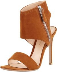 Gianvito Rossi Ankle-wrap Suede Sandal - Lyst