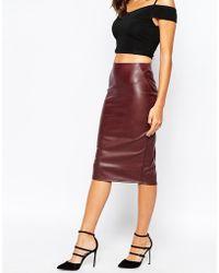 Warehouse Faux Leather Pencil Skirt - Purple