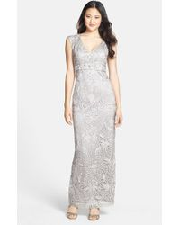 Sue Wong Embellished Illusion Back Gown - Lyst