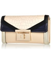 River Island Cream Croc Quilted Colour Block Purse - Lyst