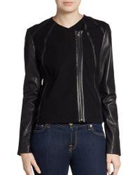 Vince Jersey Paneled Leather Jacket - Lyst