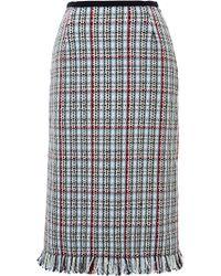 Thom Browne Fringe-Hem Tweed Skirt blue - Lyst