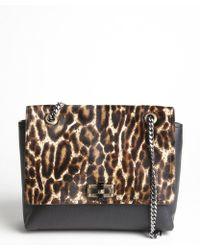 Lanvin Black Leopard Printed Pony Hair And Leather Medium 'Happy' Shoulder Bag - Lyst
