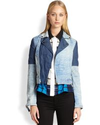 Timo Weiland - Carrie Denim-Effect Leather Patchwork Jacket - Lyst
