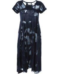 Rundholz Black Label - Sheer Number Cotton-Blend T-shirt Dress - Lyst