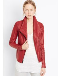 Vince Feather Leather Scuba Jacket - Lyst