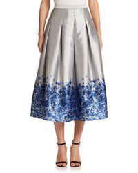 Sachin & Babi Noir Confetti Floral Satin Midi Skirt blue - Lyst