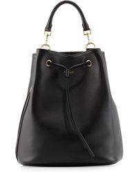 Saint Laurent - Leather Medium Drawstring Backpack - Lyst