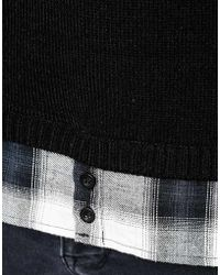 Another Influence Long Line Shirt Sweater - Black
