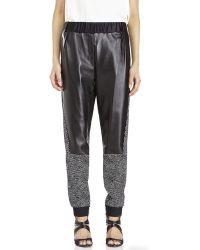 Prabal Gurung Leather Printed Track Pants - Black