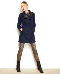 Calvin Klein Asymmetrical Fauxleathertrim Woolblend Coat - Lyst