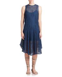 Tibi Racetrack Striped Stretch-Jersey Dress blue - Lyst
