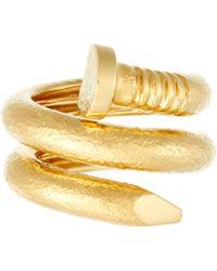 David Webb - 18k Hammered Nail Ring - Lyst