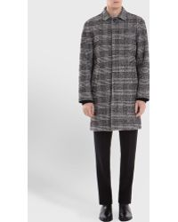 Sandro Check Prince Of Wales Tweed Coat - Lyst