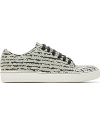 Lanvin Grey Leather Zebra Print Sneakers - Lyst