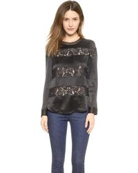 Rebecca Taylor Silk  Lace Top - Black - Lyst