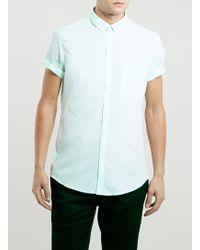 Topman Light Green Short Sleeve Shirt - Lyst