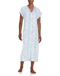 Miss Elaine - Short Sleeved Zip Front Caftan Robe - Lyst