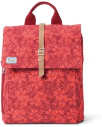 TOMS Red Multi Hibiscus Canvas Trekker Backpack