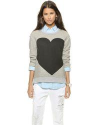 Madewell Hannah Heart Terry Sweatshirt - True Black - Lyst
