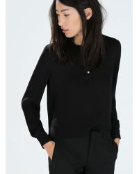 Zara Shirt Collar Blouse - Lyst