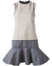 Victoria, Victoria Beckham Printed Dropped Waist Flared Dress - Lyst