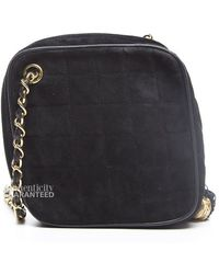 Chanel Preowned Black Suede Tassel Crossbody Bag - Lyst