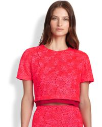 A.L.C. Thompson Silk Satin Lace-paneled Crepe Cropped Top - Lyst