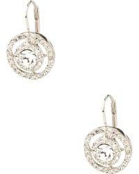 Carolee Round Framed Crystal Drop Earrings - Metallic
