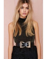 Nasty Gal Get To Bow Me Vegan Leather Belt - Lyst